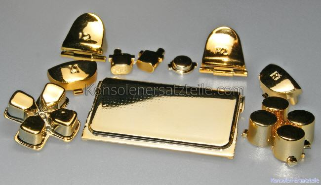 PS4 Controller Modding Set GOLD metallic, Metalltasten für PS4 Controller, PS4 Triggertasten Gold, PS4 Actiontasten gold, PS4 Aktionstasten gold, PS4 d-pad gold