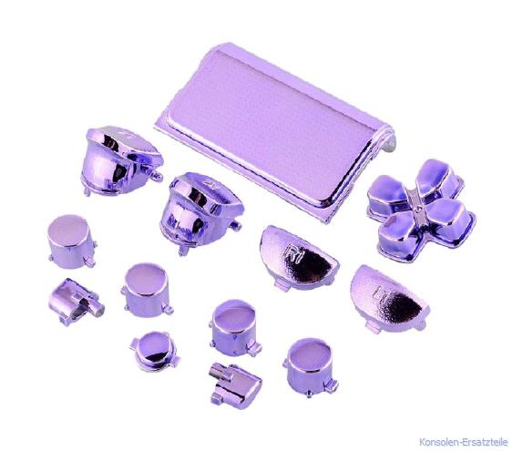 PS4 Controller Modding Set metalic violet, Chrome Tasten für PS4 Controller, PS4 Triggertasten violett, PS4 Actiontasten lila, PS4 Aktionstasten lila, PS4 d-pad violett